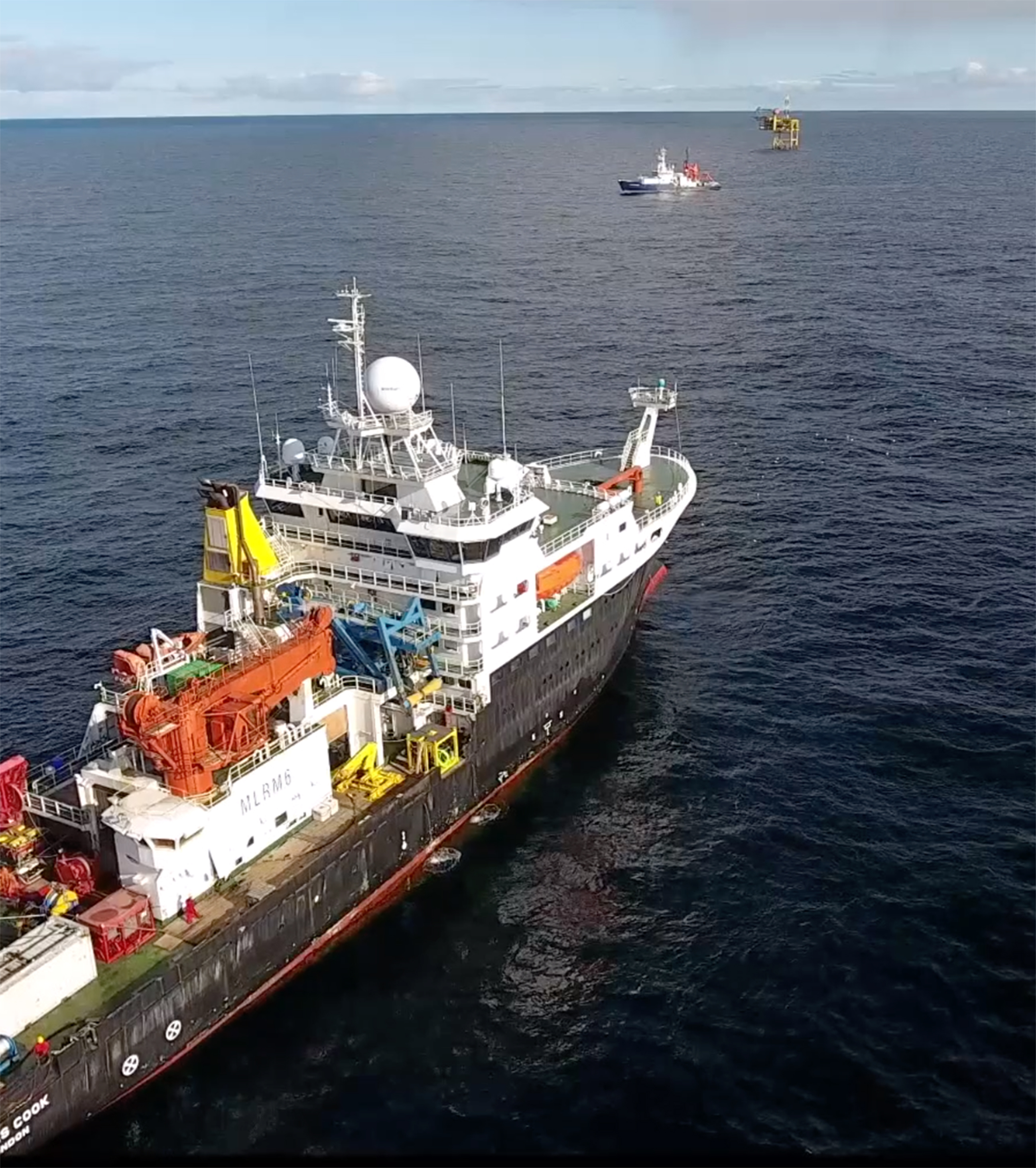 The RSS James Cook, RV Poseidon, and the Goldeneye platform. Courtesy NOC.